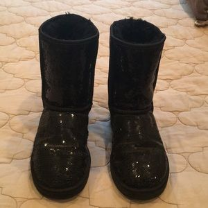 Black Sequin Ugg Boots, Size 7 Women's